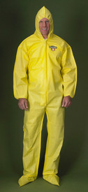 Lakeland ChemMax1 Serged Seam Hooded Coverall  - Front View of a man wearing a Lakeland ChemMax 1 Yellow Serged Seam Coverall with Zippered Front, Hood, Boots, and Elastic Wrists