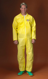 Lakeland ChemMax1 Bound Seam Elastic Ankles Coverall - Front View of a man wearing a Lakeland ChemMax 1 Yellow Bound Seam Coverall with Zippered Front, and Elastic Wrists and Ankles