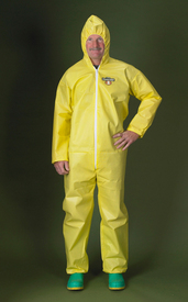 Lakeland ChemMax1 Bound Seam Hooded Coverall - Front View of a man wearing a Lakeland ChemMax 1 Yellow Bound Seam Coverall with Zippered Front, Hood and Elastic Wrists and Ankles