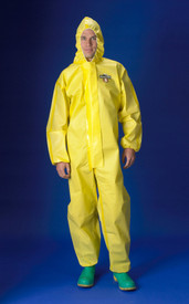 Lakeland Yellow Sealed Seam Chemical Protection Coverall - Front View of a man wearing a Lakeland  ChemMax 1 Yellow disposable coverall with front flap, elastic attached hood, and loose wrists and ankles
