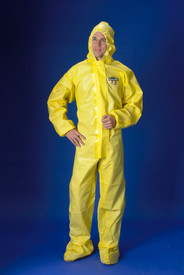 Lakeland Yellow Chemical Protection Sealed Seam Coverall - Front View of a man wearing a Lakeland  ChemMax 1 Yellow disposable  coverall with front flap, elastic attached hood, attached shoe covers, and loose wrists and ankles