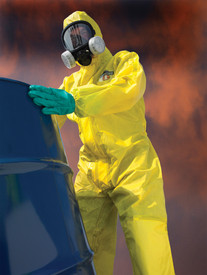 Lakeland ChemMax 1 Coverall with Respirator Hood - Front View of a man wearing a Lakeland  ChemMax 1 Yellow disposable  coverall with attached hood and respirator and elastic wrists