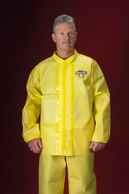 Lakeland Chemical Protective Yellow Sealed Seam Jacket - Front View of a man wearing a Lakeland  ChemMax 1 Yellow disposable  Jacket with double front flap and loose wrists