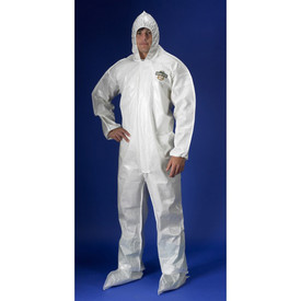 Lakeland ChemMax 2 Bound Seam Coverall - Front View of a man wearing a Lakeland  White ChemMax 2 Disposable Bound Seam Coverall with Zippered Front, Hood, Boots, and Elastic Wrists