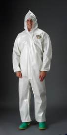 Lakeland ChemMax2 Bound Seam Hooded Coverall - Front View of a man wearing a Lakeland  White ChemMax 2 Disposable Bound Seam Coverall with Zippered Front, Hood and Elastic Wrists and Ankles