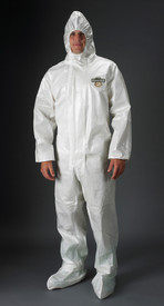 Lakeland Liquid Splash White Coverall with Respirator Hood - Front View of a man wearing a Lakeland ChemMax 2 Disposable White collared coverall with attached elastic hood, front flap, and loose wrists and ankles