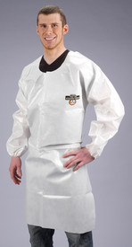 Lakeland ChemMax 2 Long Sleeve White Apron - Man wearing a Lakeland  ChemMax 2 Disposable White long sleeve apron with front coverage and elastic wrists
