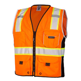 ML Kishigo Class 2 Multi Pocket Zipper Front Hi-Viz Vest  - Front view of ML Kishigo high visibility orange mesh vest with silver on yellow reflective tape going up over both shoulders and 1 reflective tape around the waist. Black zipper front closure. 2 lower flap pockets, 1 left chest flap pocket and 1 Right pocket.