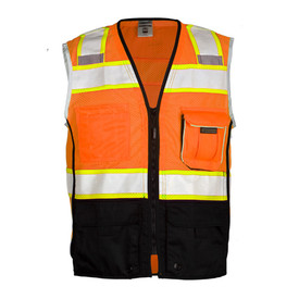 ML Kishigo Hi-Viz Class 2 Mesh Zipper Front Safety Vest - Front view of ML Kishigo high visibility orange vest with reflective tape going up over both shoulders and 1 reflective band around the waist and 1 reflective band around the chest with white trim. Black zipper front closure. Black zipper front closure and lower third of vest is black. 1 orange flap pocket on left chest, 1 pocket on Right chest and 2 lower black pockets with flaps.