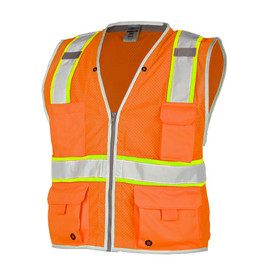 ML Kishigo Class 2 Mesh Hi-Viz 6 Pocket Vest - Front view of ML Kishigo high visibility orange mesh vest with white on yellow reflective tape going up over both shoulders and 1 reflective tape around the waist with white trim. Black zipper front closure. Vest has 2 lower and 1 left chest pocket with flaps and upper Right pocket with no flap
