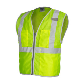 ML Kishigo Mesh 3 Pocket Class 2 Hi-Viz Vest  - Front view of ML Kishigo high visibility yellow vest with silver reflective tape going up from waist over both shoulders and 1 reflective tape around the waist with reflective trim. Gray zipper front closure. 2 exterior chest pockets