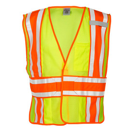 ML Kishigo 5 Point Breakaway Class 2 Mesh Vest - Front view of ML Kishigo high visibility yellow mesh break away vest with orange on silver reflective tape going up the full length of both sides and over both shoulders and 1 reflective tape around the waist with orange trim. Hook & loop front closure. Reflective tape is extra wide.