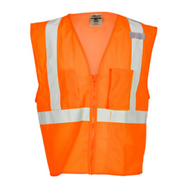ML Kishigo Mesh 3 Pocket Class 2 Front Zipper Vest - Front view of ML Kishigo high visibility orange mesh vest with silver reflective tape going up over both shoulders starting at the waist and 1 reflective tape around the waist. Vest has left and Right chest pockets with no flaps.