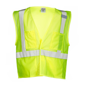 ML Kishigo Hook and Loop Mesh 4 Pocket Class 2 Vest - Front view of ML Kishigo high visibility mesh yellow vest with silver reflective tape going up from the waist and over both shoulders and 1 silver reflective tape around the waist. Right chest pocket with a pencil pocket on the left. Hook & loop front closure.