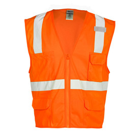 ML Kishigo Zipper Front 6 Pocket Class 2 Solid Vest - Front view of ML Kishigo high visibility solid orange vest with silver reflective tape from waist going up over both shoulders and 1 reflective band around the waist. Orange zipper front closure. Vest has 2 lower flap pockets, left chest flap pocket, Right chest non-flap pocket. Silver stripes do not go over pockets.