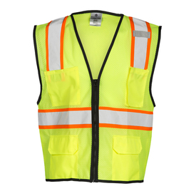 ML Kishigo 4 Pocket Class 2 Contrasting Mesh Vest - Front view of ML Kishigo high visibility yellow vest with silver on orange reflective tape going starting at the top of both chest pockets goes up over both shoulders and 1 reflective tape around the waist with black trim. Black zipper front closure and black trim.