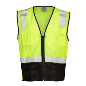 ML Kishigo Black Bottom Class 2 Hi-Viz Mesh 6 Pocket Vest - Front view of ML Kishigo high visibility yellow mesh vest with silver reflective tape  starting at top of both chest pockets and going up over both shoulders. 1 reflective tape around the waist with black trim. Zipper front closure. Lower quarter of vest is solid black material and has 2 flap pockets.