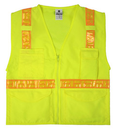 ML Kishigo ANSI Mesh Back Zipper Front 6 Pocket Vest - Front view of ML Kishigo high visibility yellow vest with orange reflective stripes from center waist band up over the shoulders and down the back. Two lower outside pockets with flaps, two inside pockets, a divided Right chest pocket and left radio pocket. Zip front closure.