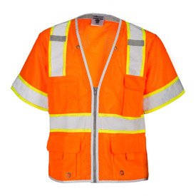ML Kishigo Zipper Short Sleeve Mesh Heavy Duty Class 3 Vest - Front view of ML Kishigo high visibility orange vest with yellow trimmed reflective stripes around waist extending vertically over the shoulders. Sleeve ends with yellow trimmed reflective stripping. Zip front closure with left and Right mic tabs. Outside Right chest divided pocket, outside left cell pocket, two lower pockets with flap and grommet closures and inside lower patch pockets.