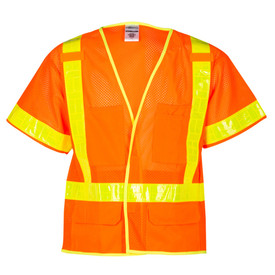 ML Kishigo ANSI Mesh Hook and Loop Class 3 Vest - Front view of ML Kishigo high visibility orange vest with yellow reflective stripe around the waist, extending vertically over the shoulders to join with waist in front. Orange reflective stripe around each arm. Outside left divided chest pocket, Right cell pocket, two lower pockets with flaps and inside lower pockets. Six inch hook and loop front closure.