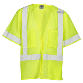 ML Kishigo Mesh Zipper Front 3 Pocket Class 3 Vest - Front view of ML Kishigo high visibility yellow vest with silver reflective stripe around waist, vertically over shoulders and around each arm. Outside left pocket, inside lower left pocket and inside Right chest divided pocket. Zip front closure.