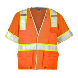 ML Kishigo 5 Point Breakaway Hi-Viz 5 Pocket Class 3 Vest  - Front view of ML Kishigo high visibility orange vest with yellow trimmed silver reflective stripe around the waist and extending vertically over the shoulders to end at chest level front pockets and around each arm. Outside left and Right pockets, Right is divided. Two outside lower pockets with adjustable flaps and grommets and inside patch pockets. Hook and loop closure.