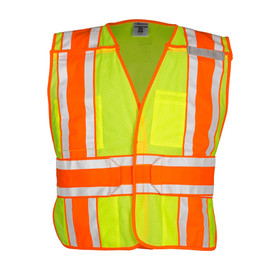 ML Kishigo ANSI 5 Point Breakaway Hook and Loop Vest - Front view of ML Kishigo high visibility yellow vest with gray on orange reflective stripping around the waist and extending vertically from bottom, over shoulders to bottom of front. Two inside lower pockets, outside left chest pencil pocket and outside Right 2 tier pocket. Hook and loop front closure.