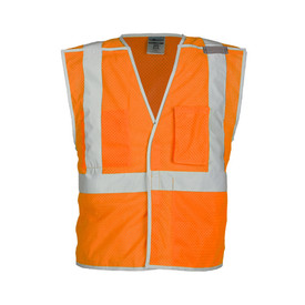 ML Kishigo 5 Point Breakaway Brilliant Trim Class 2 Vest - Front view of ML Kishigo high visibility orange vest with silver reflective stripping around waist and extending vertically over both shoulders. Breakaway at sides, shoulders and front closure. Left chest radio pocket, inside left pocket and Right chest divided pocket.