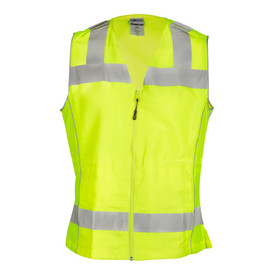ML Kishigo Ladies Mesh 3 Pocket Class 2 Vest - Front view of ML Kishigo high visibility yellow vest with two white reflective bands, one under the waist and one around the chest. Reflective stripping extends vertically from the chest band over the shoulders. Zipper front closure. Two hidden outside slash pockets with zip closures and inside lower left radio pocket with flap.