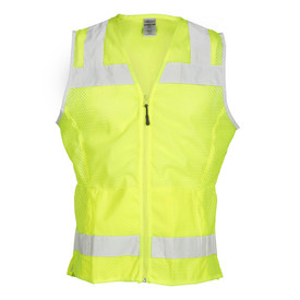 ML Kishigo Ladies Zipper Front Hi-Viz Class 2 Mesh Vest - Front view of ML Kishigo high visibility yellow vest with two reflective stripes; one around the chest extending vertically over the shoulders and one at just below waist level. Front zippered closure with two lower slash pockets and inside lower left radio pocket.
