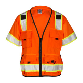 ML Kishigo Class 3 Mesh Zipper Front ANSI 6 Pocket Vest - Front view of ML Kishigo high visibility orange mesh vest with silver on yellow reflective stripping around the waist and vertically from chest pockets over the shoulders. Black contrast trim on sides, neckline, zipper and bottom waist. Left and Right mic tabs and two tier left chest pocket. Right chest pocket and lower front pockets have flap closure. Left and Right stake pockets and spray paint pockets. Inside lower Right and left pockets with full length zippers and load bearing straps.