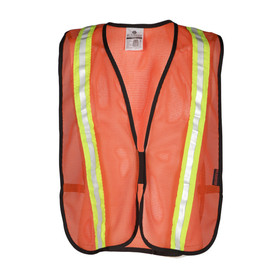 ML Kishigo P-Series 3 Inch Hook and Loop Non-ANSI Vest - Front view of ML Kishigo high visibility orange vest with reflective stripe from bottom going up over both shoulders. With hook and loop front closure.
