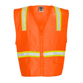 ML Kishigo Zipper 6 Pocket Non-ANSI Hi-Viz Vest - Front view of ML Kishigo high visibility orange vest with silver on yellow reflective stripes around the waist and vertically from the bottom over the shoulders. Orange zip closure with two outside lower pockets with flaps, tow chest pencil pockets and two inside pockets.