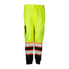 ML Kishigo Mesh Hook and Loop Class E Hi-Viz Pants - Front view ML Kishigo high visibility yellow pants with two orange on silver reflective stripes on each leg. Right cargo pocket with reflective piping,  two side slit pockets and elastic cuffs. Snap front closure with hook and loop fly. Bottom quarter of each leg is black.