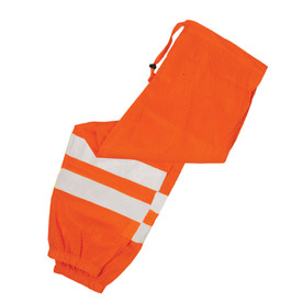 ML Kishigo Mesh Drawstring Waist Hi-Viz 2 Pocket Pants - ML Kishigo high visibility orange pants with two silver reflective stripes on each leg and elastic bottom cuffs. Drawstring waist and two side pocket access slits.