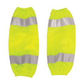 ML Kishigo One Size Mesh Hi-Viz Class E Gaiters - ML Kishigo high visibility yellow mesh gaiters with reflective silver stripe at top and bottom of each leg. Adjustable hook and loop closure.