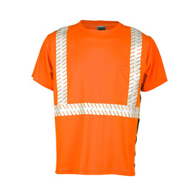 ML Kishigo Class 2 Microfiber Chest Pocket Hi-Viz T-Shirt - Front view of ML Kishigo high visibility orange t-shirt with reflective stripe around the waist and vertically from waist over the shoulders. Black side contrast and left front chest pocket.