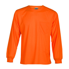 ML Kishigo Microfiber Long Sleeve Non-ANSI T-Shirt - Front view of ML Kishigo high visibility neon orange long sleeve t-shirt with elastic wrist band. Left chest pocket.