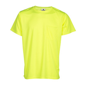 ML Kishigo Microfiber Non-ANSI Short Sleeve T-Shirt - front view of ML Kishigo high visibility neon yellow t-shirt of cool microfiber polyester material. Left front chest pocket.