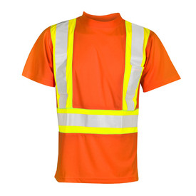 ML Kishigo Microfiber Hi-Viz Class 2 Short Sleeve T-Shirt - Front view of ML Kishigo high visibility orange t-shirt with silver on yellow reflective stripes going up over both shoulders and around the waist. Left chest pocket.