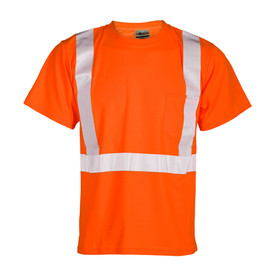 ML Kishigo 1 Pocket Class 2 ANSI T-Shirt - Front view of ML Kishigo high visibility orange t-shirt with reflective stripes going up over both shoulders and around the waist. Left front chest pocket.