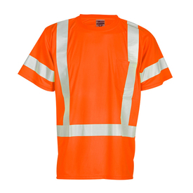 ML Kishigo Class 3 Hi-Viz 1 Pocket T-Shirt - Front view of ML Kishigo high visibility orange t-shirt with silver reflective stripes going up over both shoulders and around the waist. Two silver reflective bands on arms. Left chest pocket