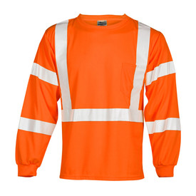 ML Kishigo Long Sleeve 1 Pocket Class 3 T-Shirt - Front view of ML Kishigo high visibility orange long sleeve t-shirt with silver reflective stripes going up over both shoulders and around the waist. Four silver reflective bands on the arms. Left chest pocket.