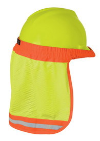 ML Kishigo Elastic Band Mesh Wide Sun Shield - ML Kishigo high visibility yellow sun shield with orange contrasting elastic to attach securely to most hard hats. Silver on orange reflective band at bottom of neck shield with orange side piping. Shown with yellow hard hat.