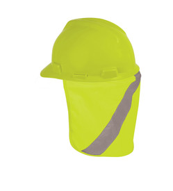 ML Kishigo Hook and Loop Nape Protector - Front view of ML Kishigo Nape protector in yellow with contrasting silver reflective band running diagonally from top to bottom. Shown attached to yellow hard hat.