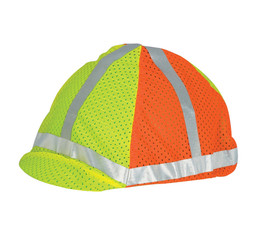 "ML Kishigo Elastic Band ANSI Hard Hat Cover - ML Kishigo high visibility orange and yellow hard hat cover with reflective silver band around brim and forming ""X"" across the top. Elastic bands and hooks to secure to most hard hats."