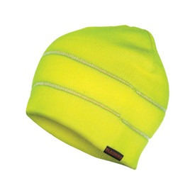 ML Kishigo Reflective Knit Beanie - ML Kishigo high visibility neon yellow knit beanie with two reflective threads sewn into two bands circling the beanie.