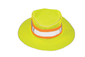 ML Kishigo Mesh Crown ANSI Full Brim Hi-Viz Safari Hat - ML Kishigo high visibility round yellow hat with a silver on orange reflective hat band. Wide brim with dark grey undercoating and drawstring.
