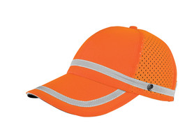 ML Kishigo ANSI Mesh Panel Baseball Cap - ML Kishigo high visibility orange cap with silver reflective stripes around band and over bill. mesh side panels and grey under bill.