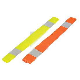 ML Kishigo 2 Stripe Hook and Loop Hi-Viz Seat Belt Covers - ML Kishigo high visibility yellow and orange seat belt covers with two silver reflective bands, one on each end.